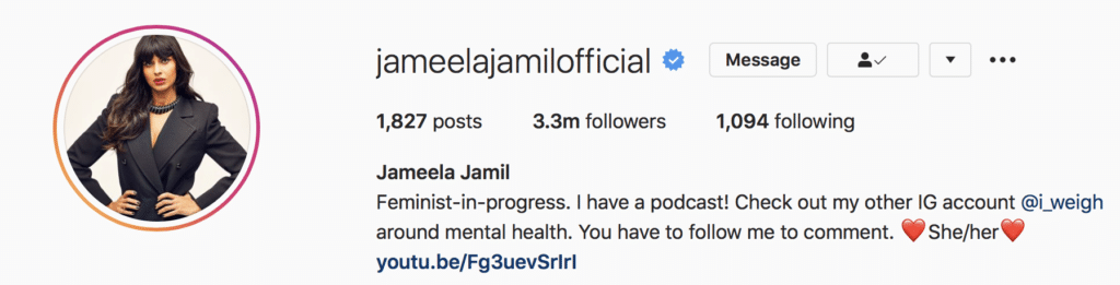 Jameela Jamil specifies her gender pronouns on Instagram. An example of how social movements are changing language in 2020.