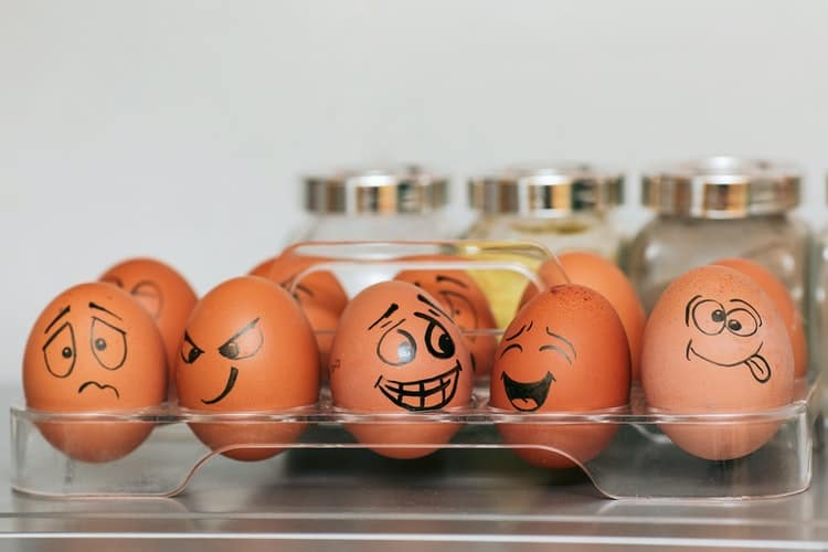 eggs with different facial expressions written in pen