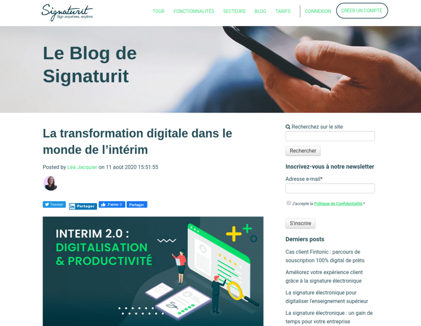 Work sample of a French blog post that VeraContent wrote for Signaturit, a company that provides e-signature solutions, on the digital transformation of temporary work agencies.