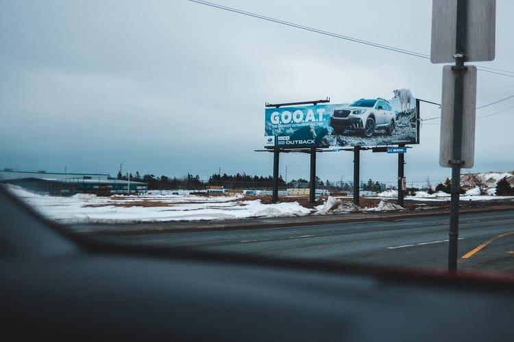 Car billboard on a US highway