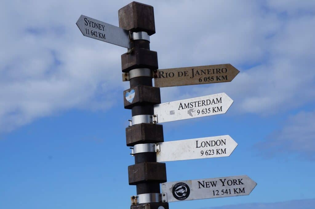 A sign with different cities on it, in an article about how to ensure a quality localization