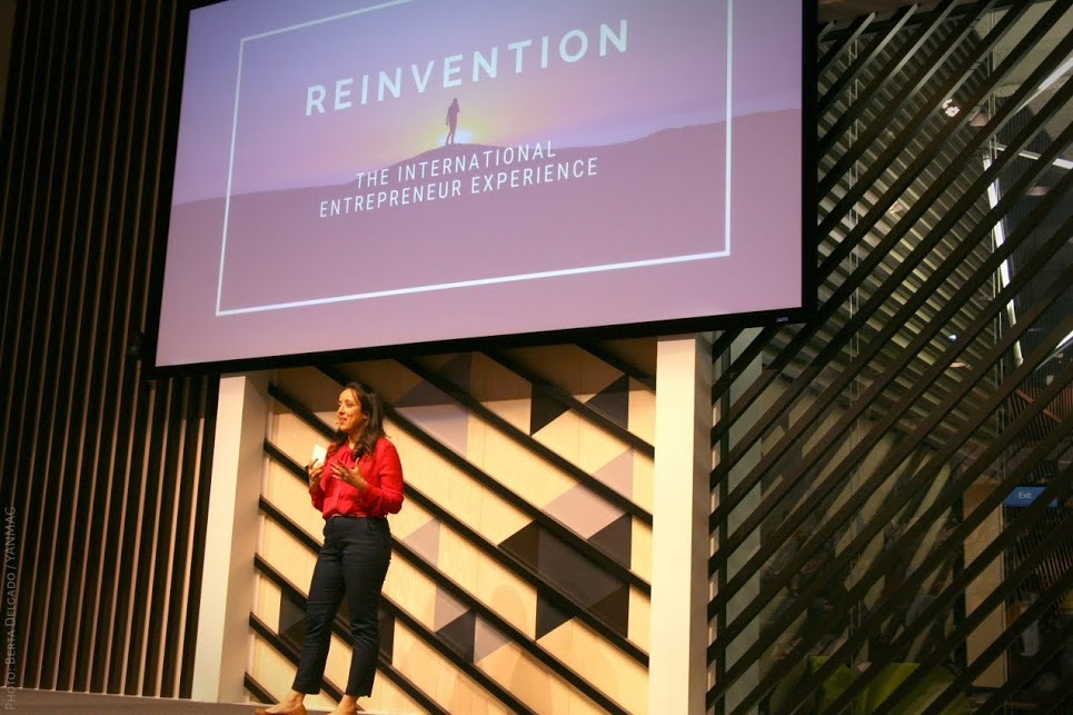 VeraContent CEO Shaheen Samavati giving a speech at the Reinvention conference at Google Campus in Madrid in February 2020