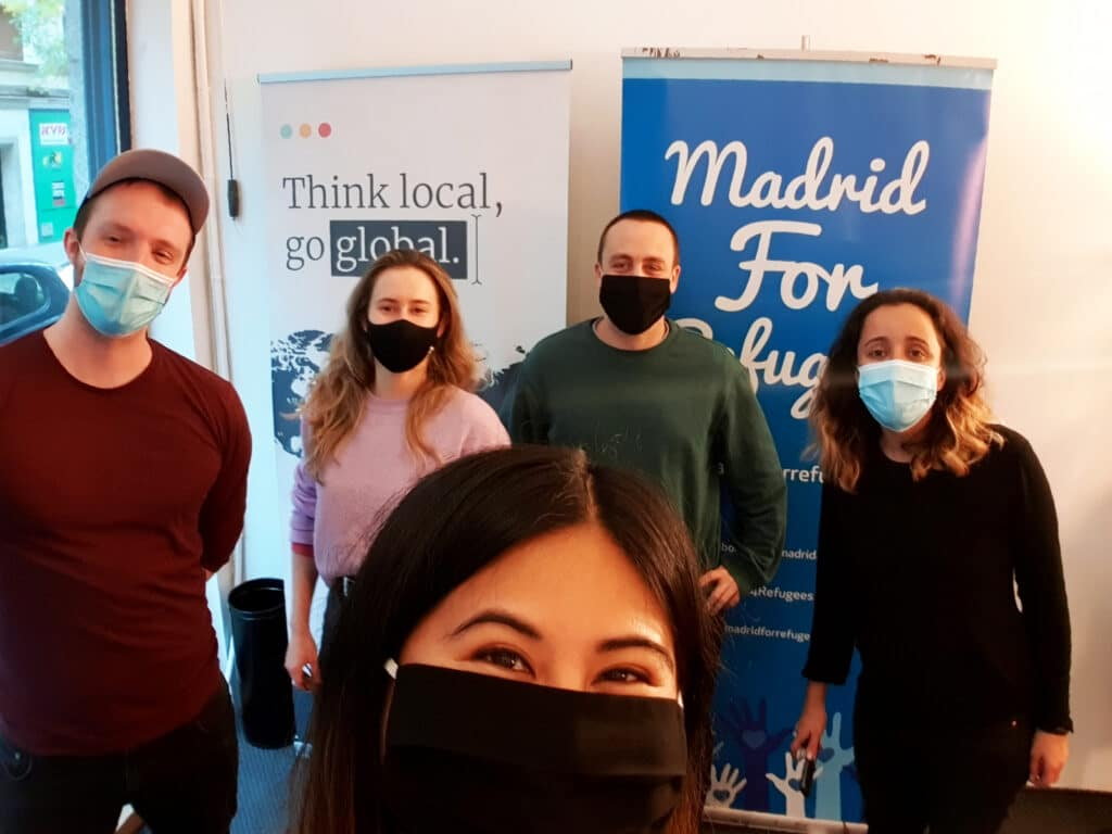 Pictured here are Madrid For Refugee leaders Christina Samson (middle) and  Ivan Villanueva (left); along with VeraContent co-founders Daphne Binioris, James Leahu and Shaheen Samavati  (left-right)