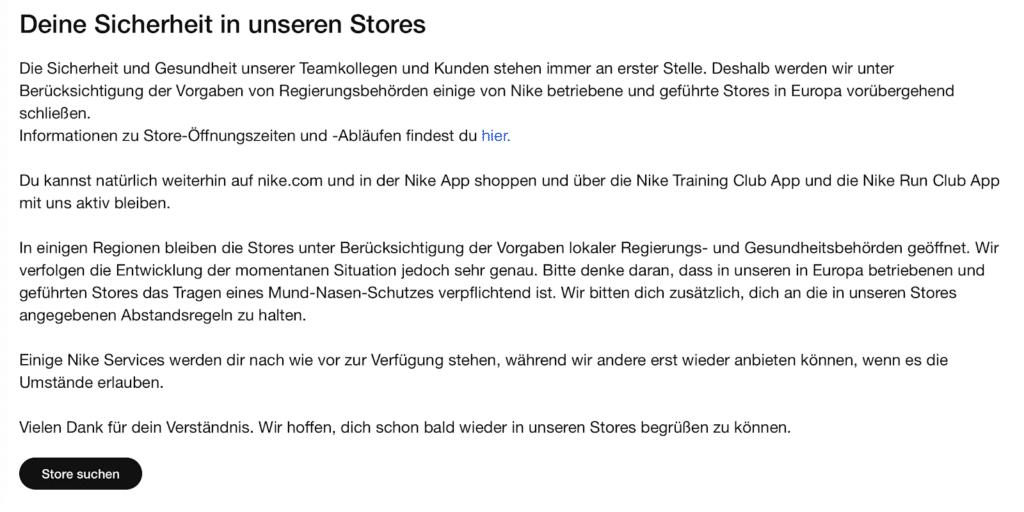 Marketing of Coronavirus-related information on Nike's German site