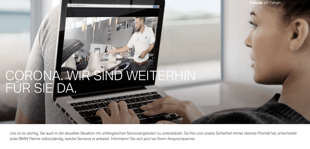 German marketing of Coronavirus-related information on BMW's website
