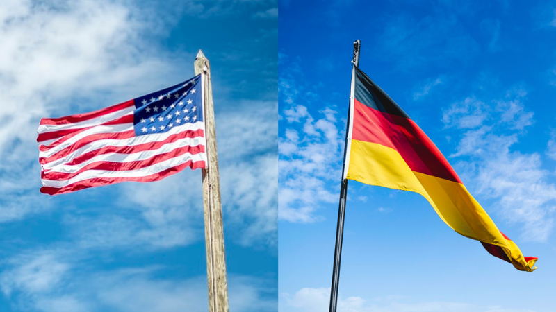 US flag and German flag side by side