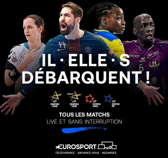 Eurosport ad that promotes both men's and women's teams in the Champions League with a slogan that promotes gender inclusivity in French