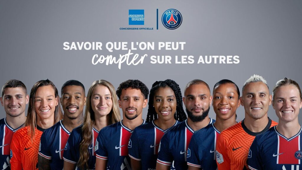 Example of gender inclusivity in French being promoted in a marketing advertisement: in November 2020, American Express and Paris Saint-Germain Football Club created a campaign featuring both male and female players.