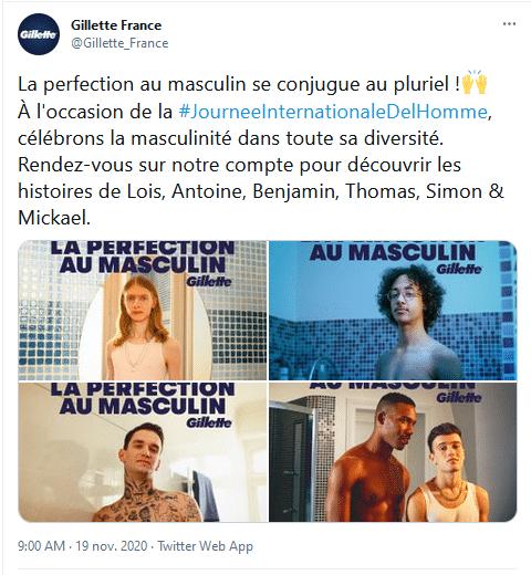 Screenshot of Gillette France post on Instagram promoting gender inclusivity