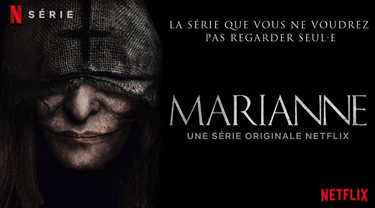 Example of the French median-period, an inclusive language option, being used in a poster for Netflix series Marianne